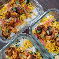 Three Blackened Shrimp Taco Bowls