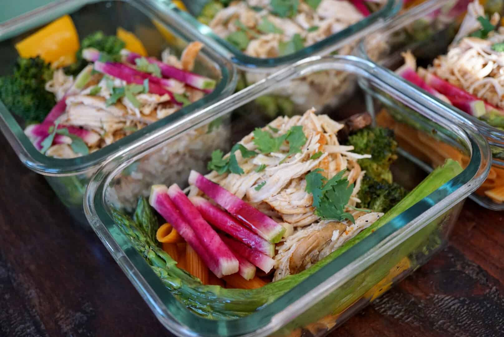 Slow cooker shredded chili lime chicken bowl meal prep