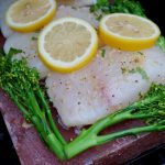 Halibut Grilled On A Himalayan Salt Block With Broccolini