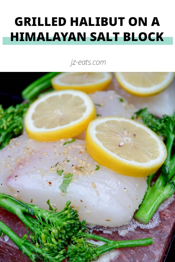 Halibut Grilled On A Himalayan Salt Block With Broccolini pinterest pin