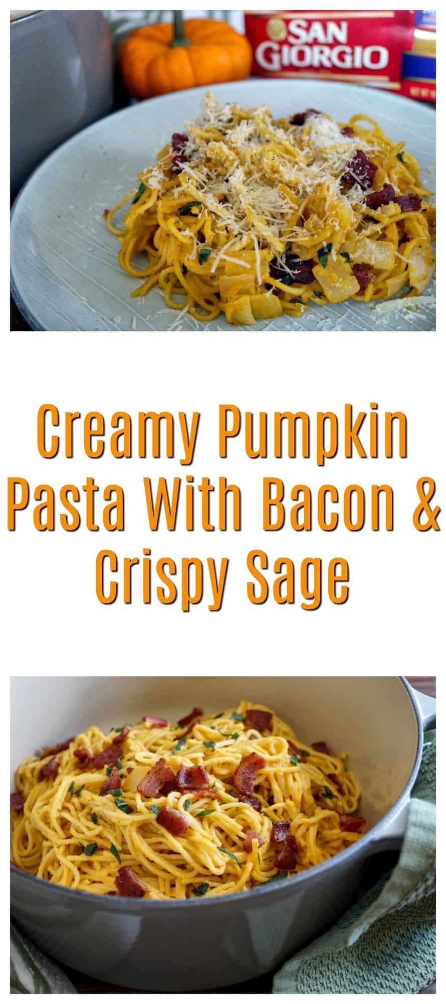 pumpkin pasta with bacon and crispy sage pin