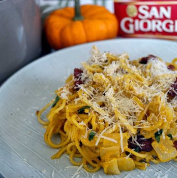 Pumpkin Pasta With Bacon Crispy Sage