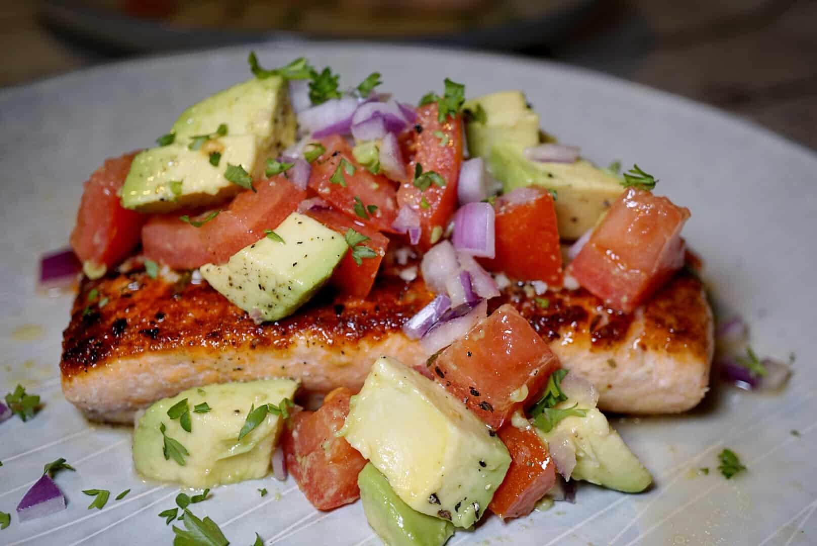 Whole30 Recipes Pan Seared Salmon With Avocado Salsa