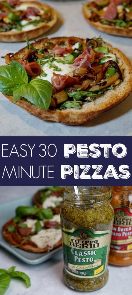 These easy Burrata Pesto Pizzas are the perfect appetizer or even filling enough for a small meal. They're made with Filippo Berio Pesto, prosciutto, burrata cheese, caramelized onions, arugula, and asparagus. These pizzas may be mini, but each bite is like a flavor explosion in your mouth!