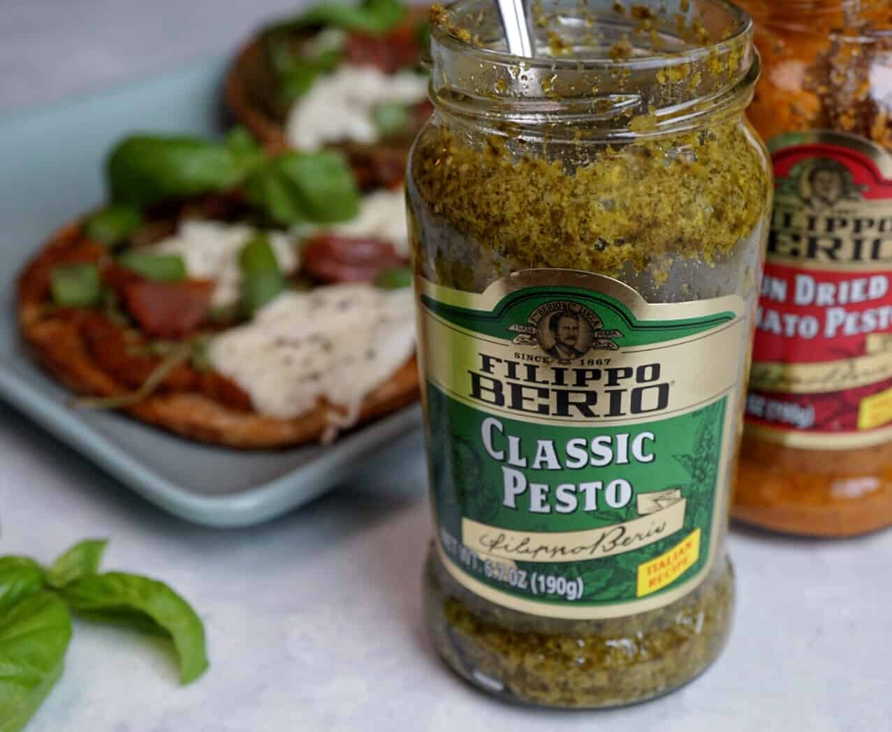 Felippo Berio Pesto with Burrata Pesto Pizzas