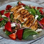 Farro salad with blackened chicken and strawberries