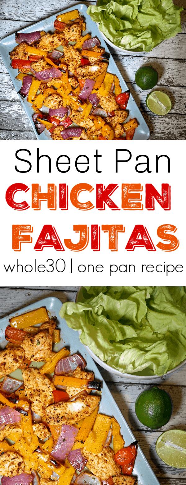 Sheet pan chicken fajitas pin