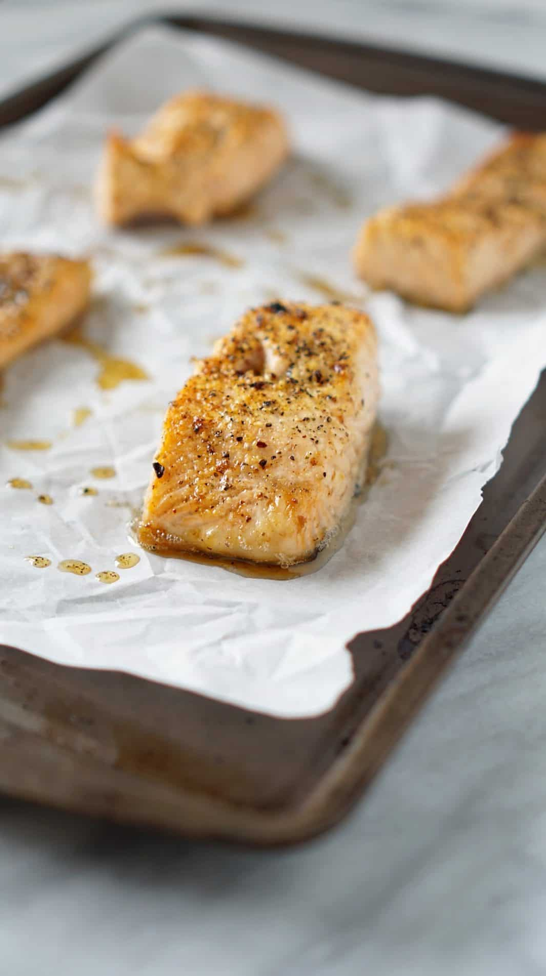 salmon filet on a baking sheet