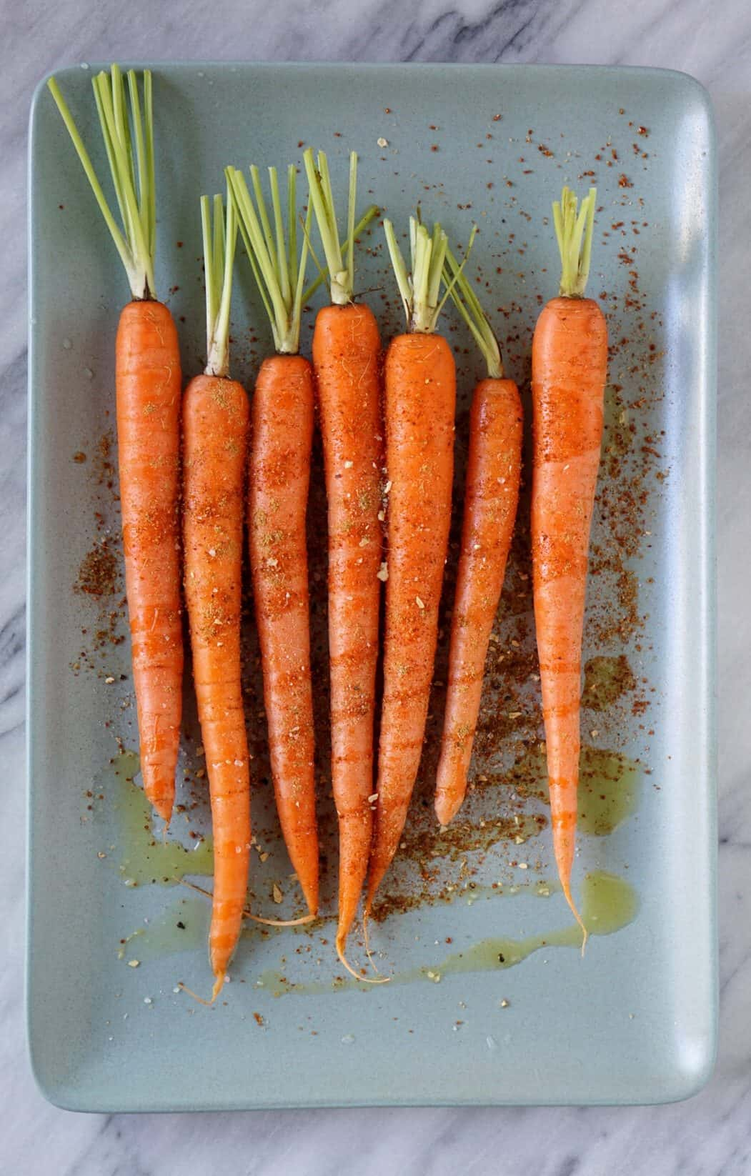 carrots on a blue platter