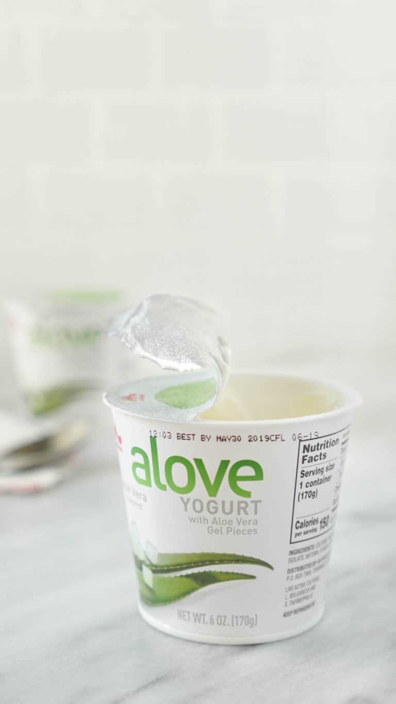 alove yogurt on a marble slab