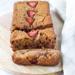 strawberry banana bread on a wooden tray