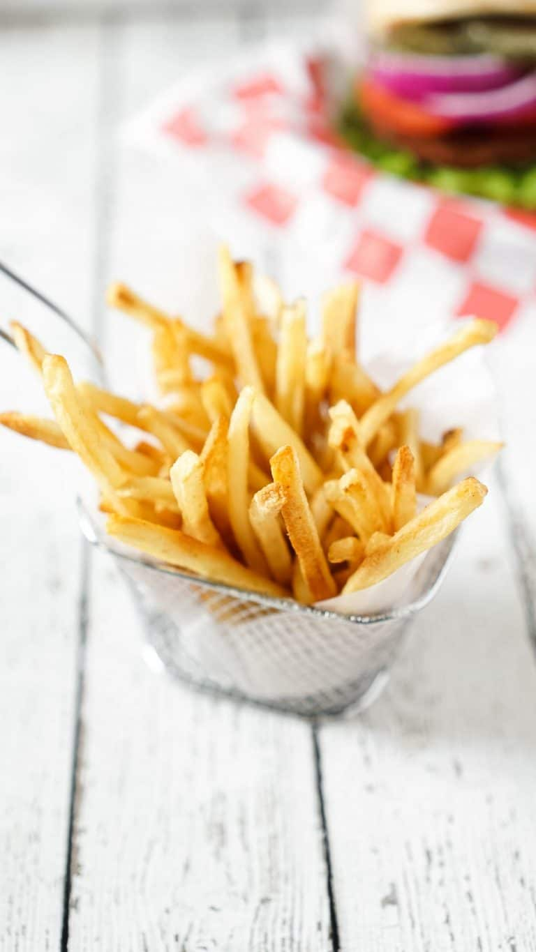 french fries in a fry basket
