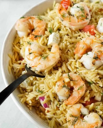 Lemon Orzo Salad With Garlic Butter Shrimp