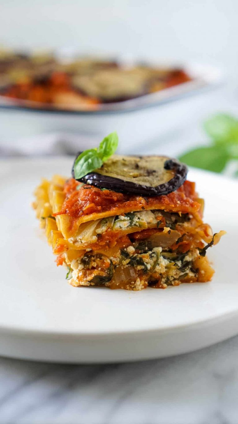 vegan lasagna on a white plate