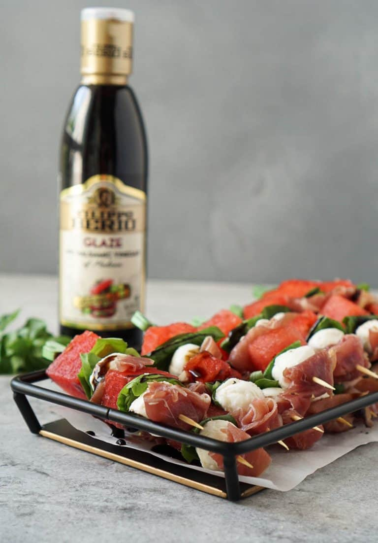watermelon caprese skewers with filippo berio balsamic glaze
