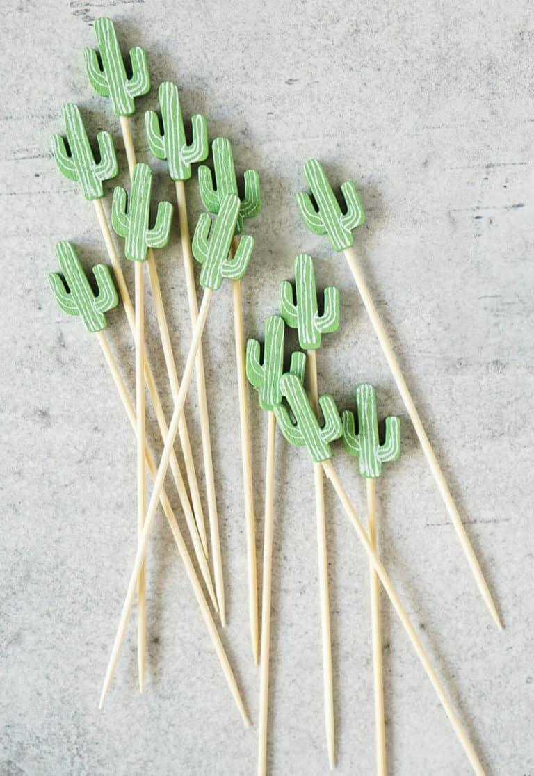 cactus cocktail toothpicks on a grey background