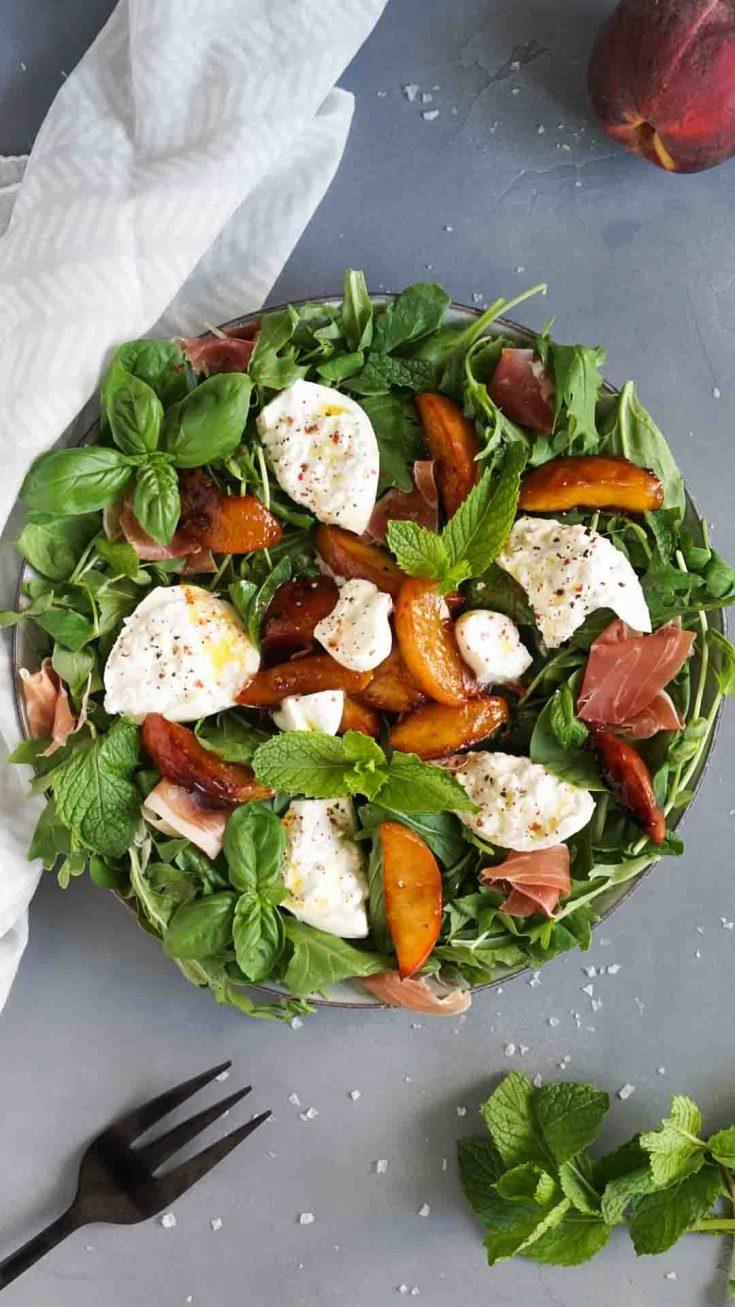 Burrata Salad With Caramelized Peaches