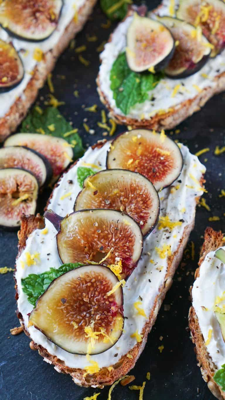 fig toast on a slate board