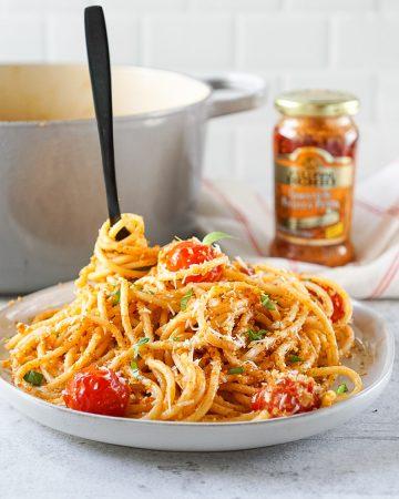 Tomato Ricotta Pesto Pasta With Balsamic Burst Cherry Tomatoes And Lemony Panko
