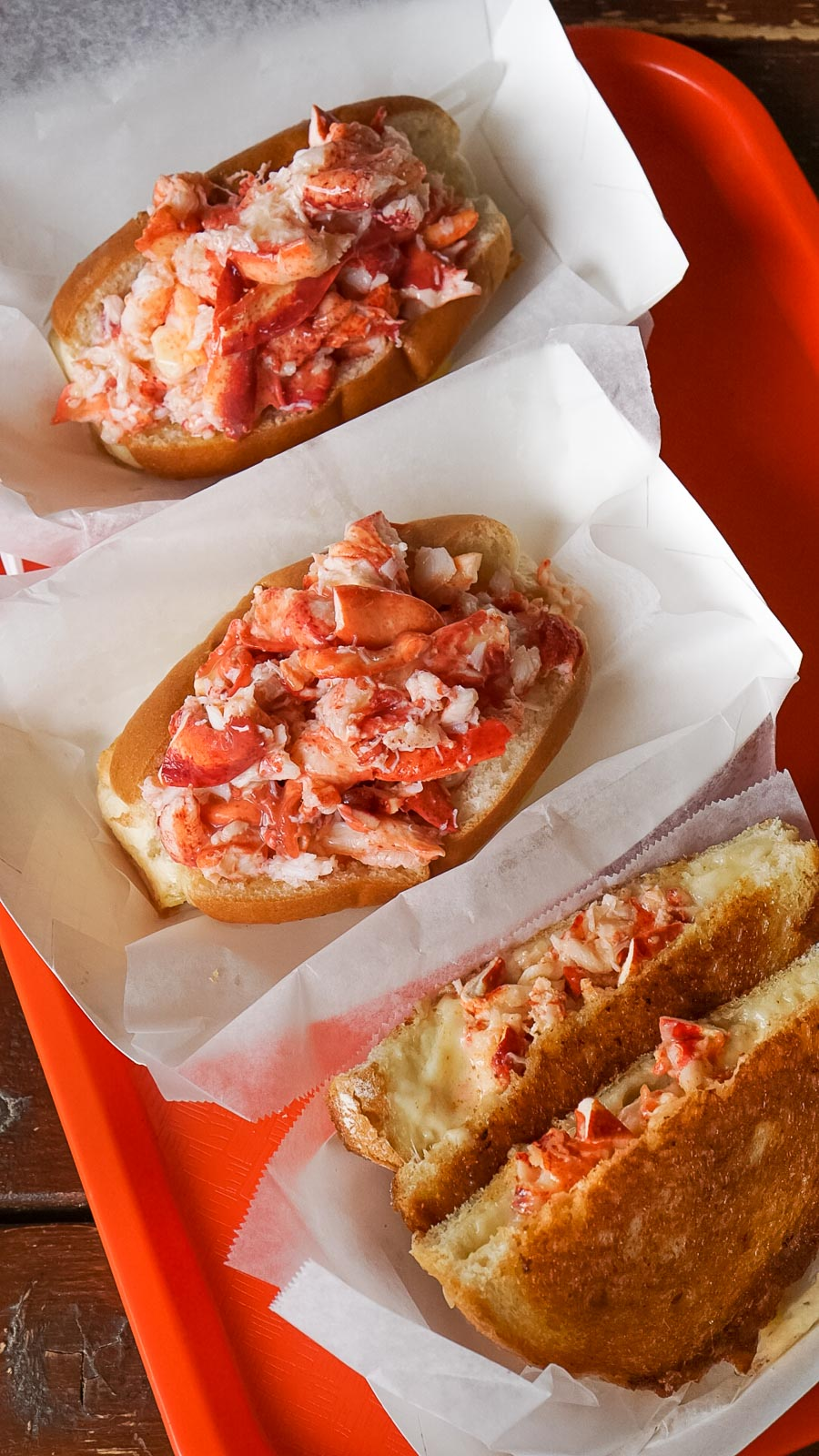 2 lobster rolls and a lobster grilled cheese
