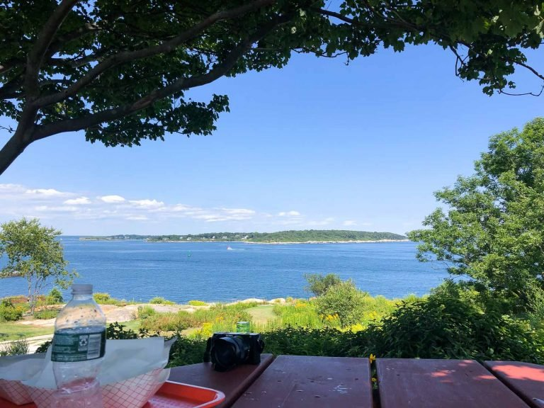 a picnic table overlooking the water at fort williams park