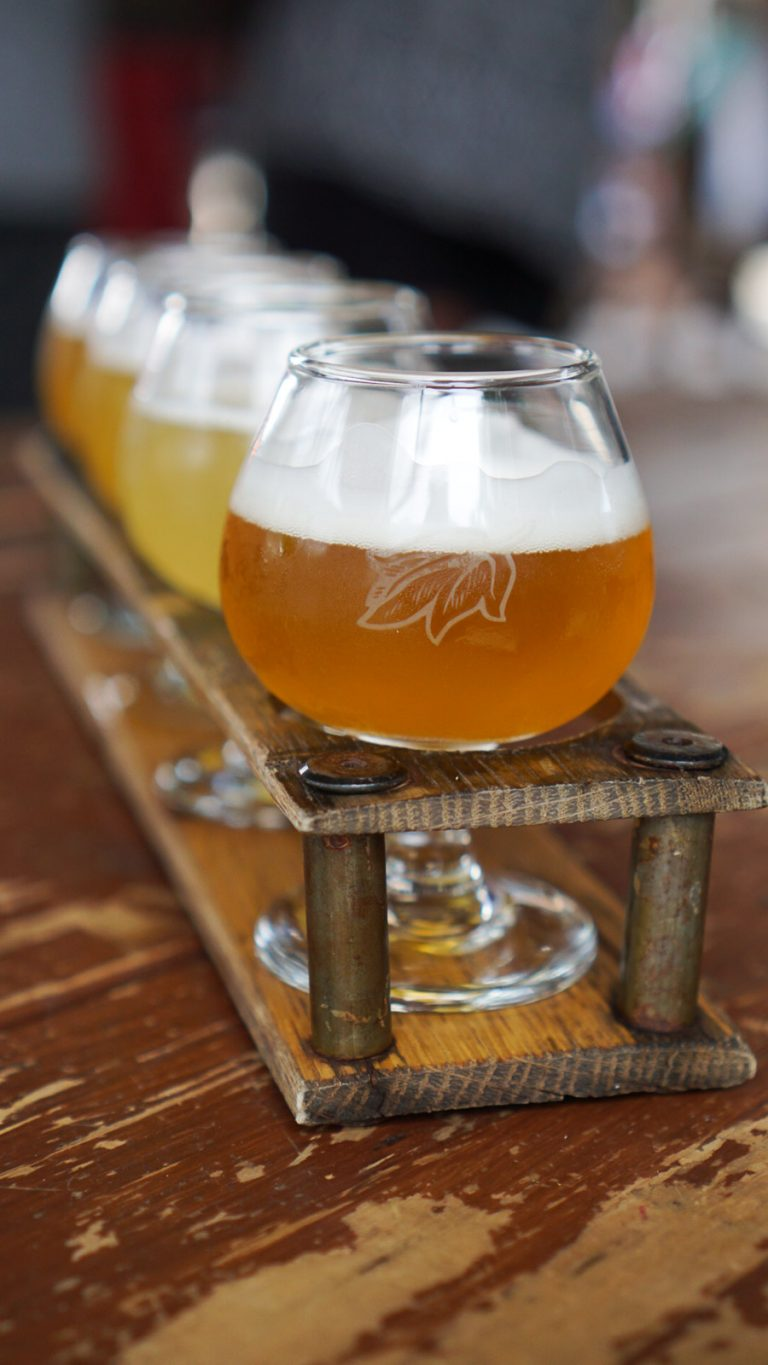 a flight of beer from allagash brewing company