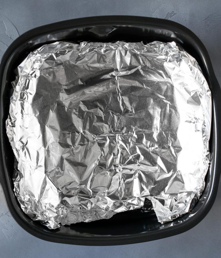 air fryer basket lined with foil