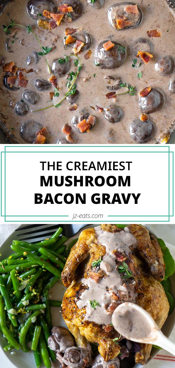 mushroom bacon gravy pinterest long pin