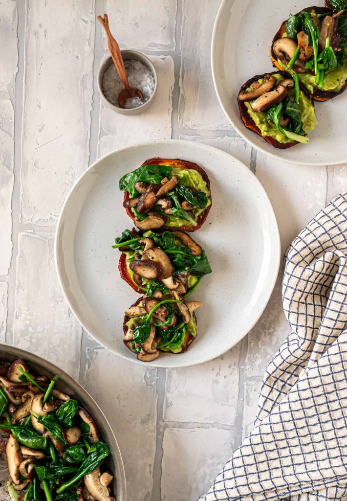 spinach and mushrooms on sweet potato toast