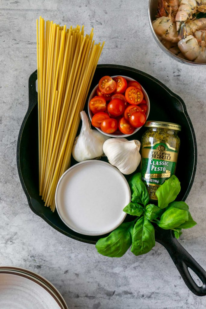ingredients to make basil pesto shrimp pasta