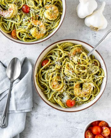 Creamy Basil Pesto Shrimp Pasta