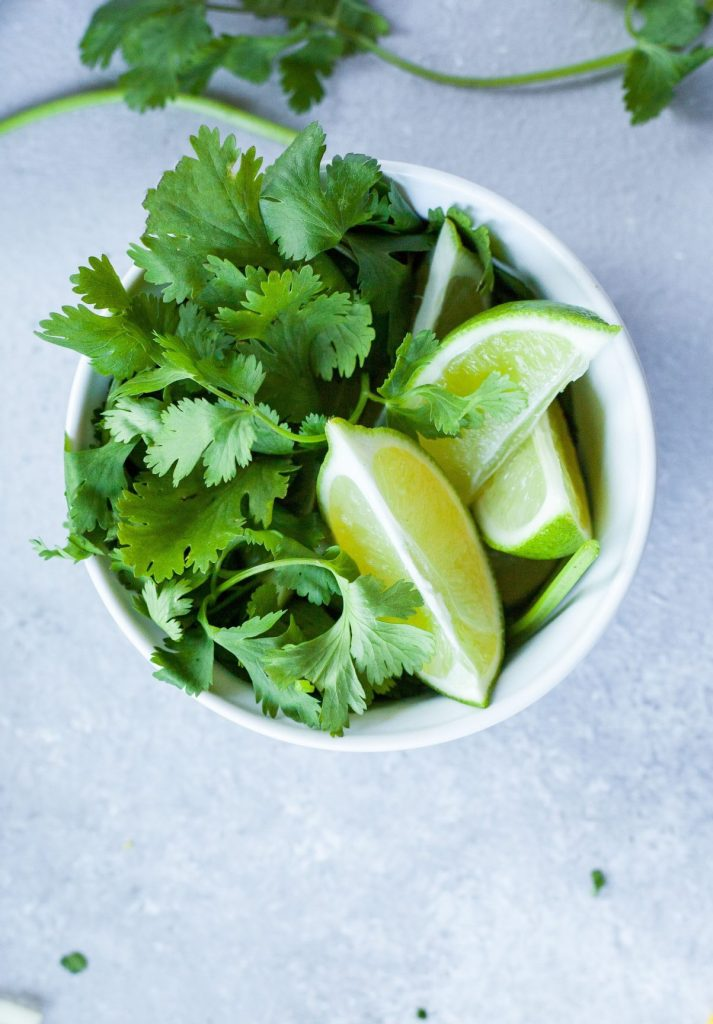 cilantro and lime in a bowl