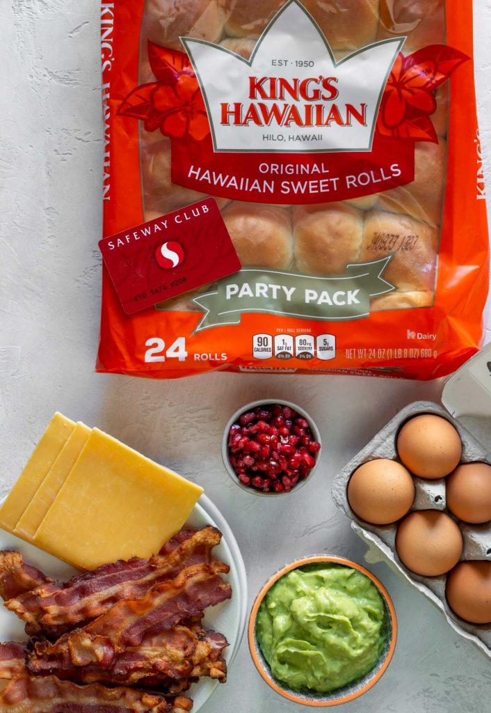 kings hawaiian rolls, bacon, cheese, guacamole, pomegranate seeds, eggs