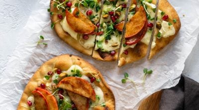 sliced baked brie and apple flatbread pizza