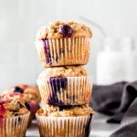 3 lemon blueberry oatmeal muffins stacked