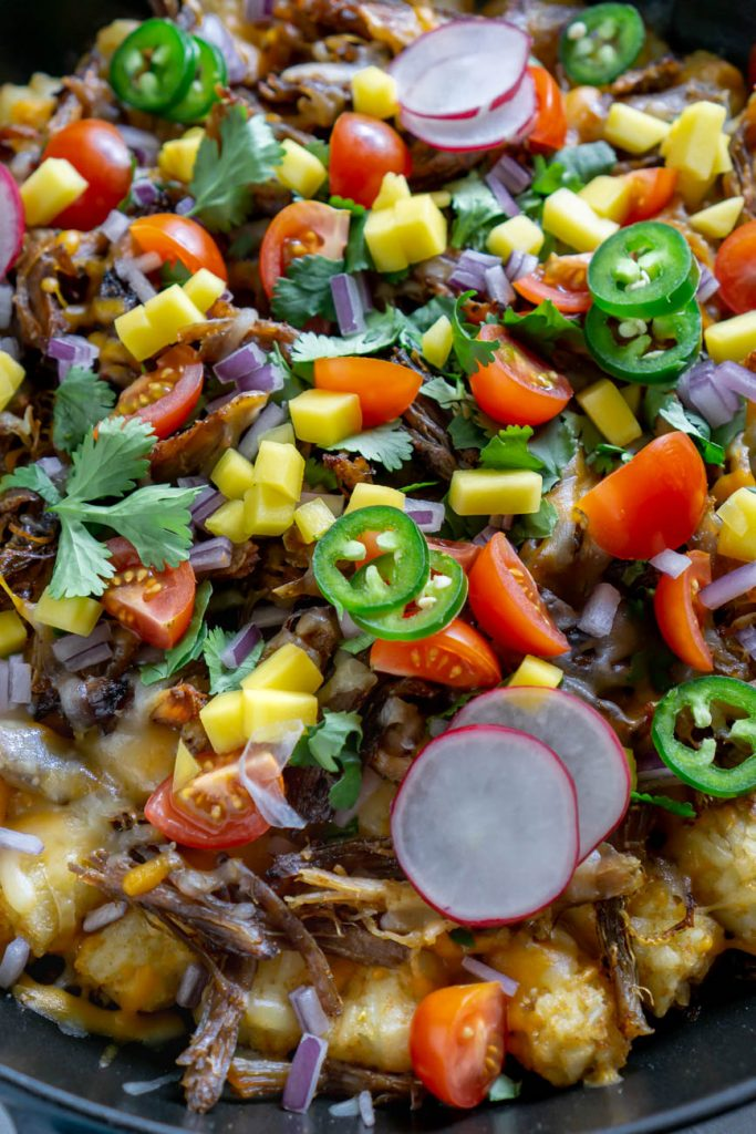 close up of tater tot nachos