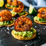 blackened shrimp with sweet potatoes and guacamole