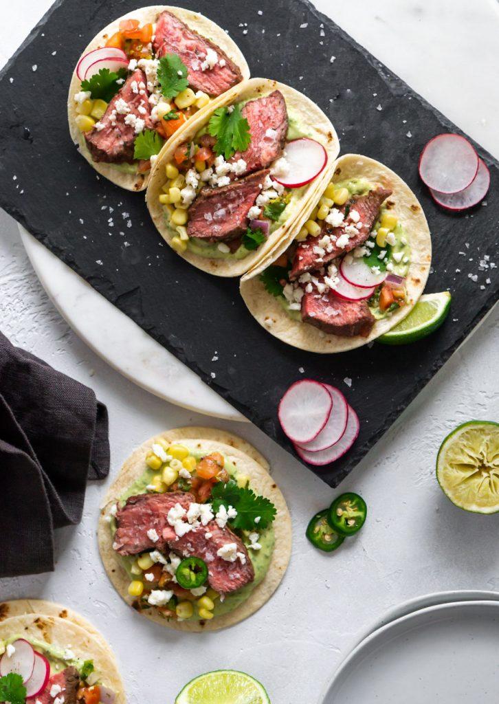 three flank steak tacos
