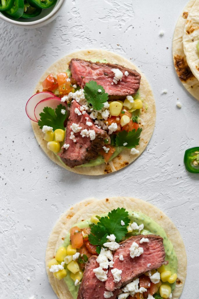 two flank steak tacos