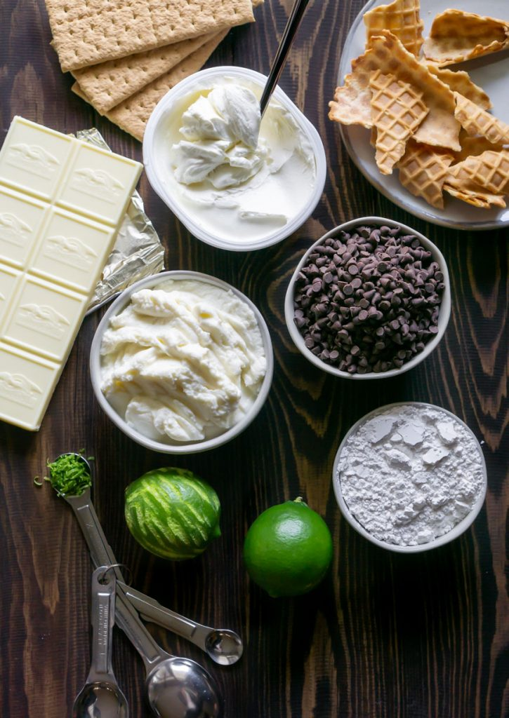 ricotta cheese, limes, chocolate chips, powdered sugar, white chocolate, graham crackers, and waffle cone chips