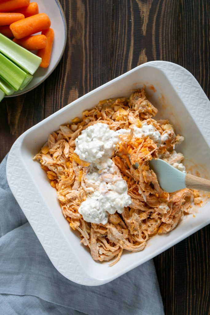 spatula folding in cottage cheese