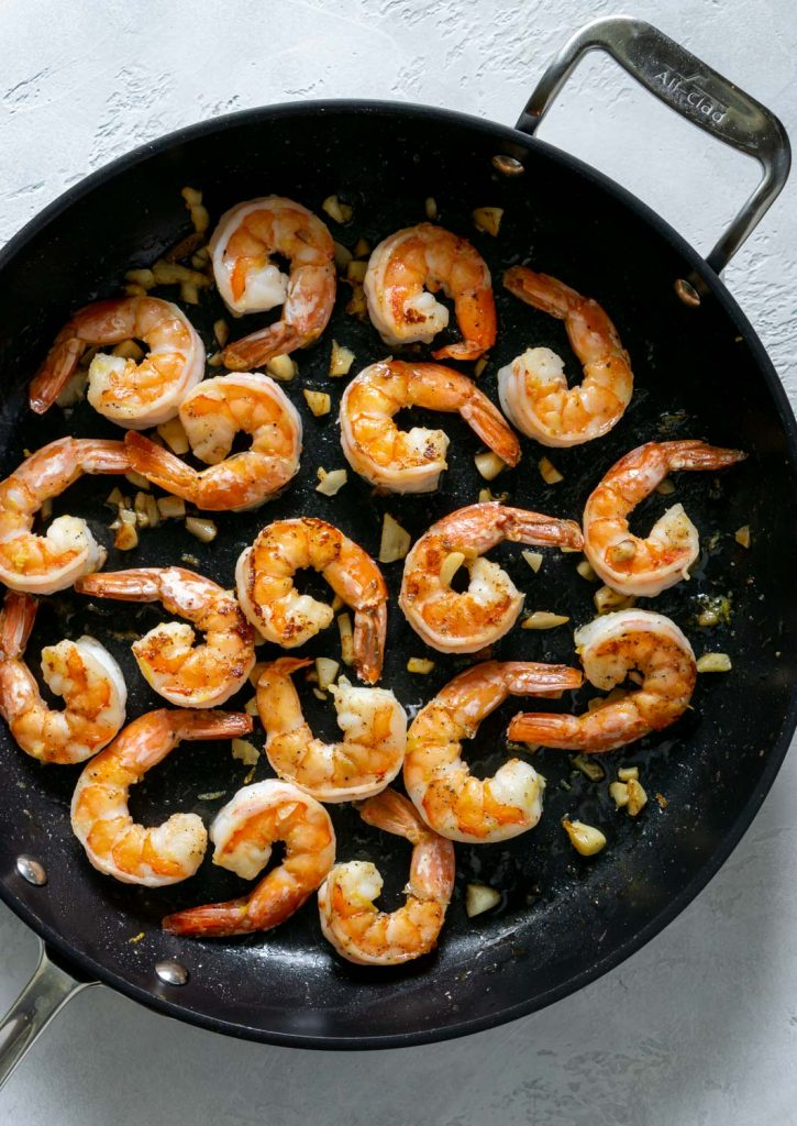 shrimp in a large non-stick pan