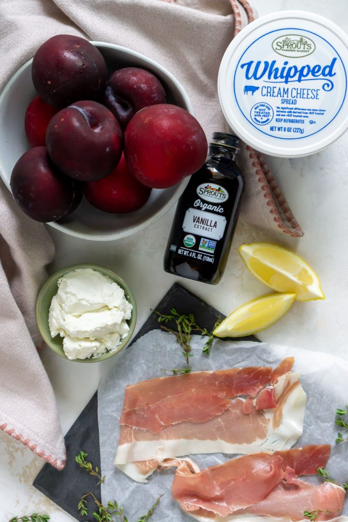 plum recipe ingredients - plums, vanilla extract, prosciutto, goat cheese, cream cheese