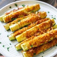 air fryer zucchini on a white plate