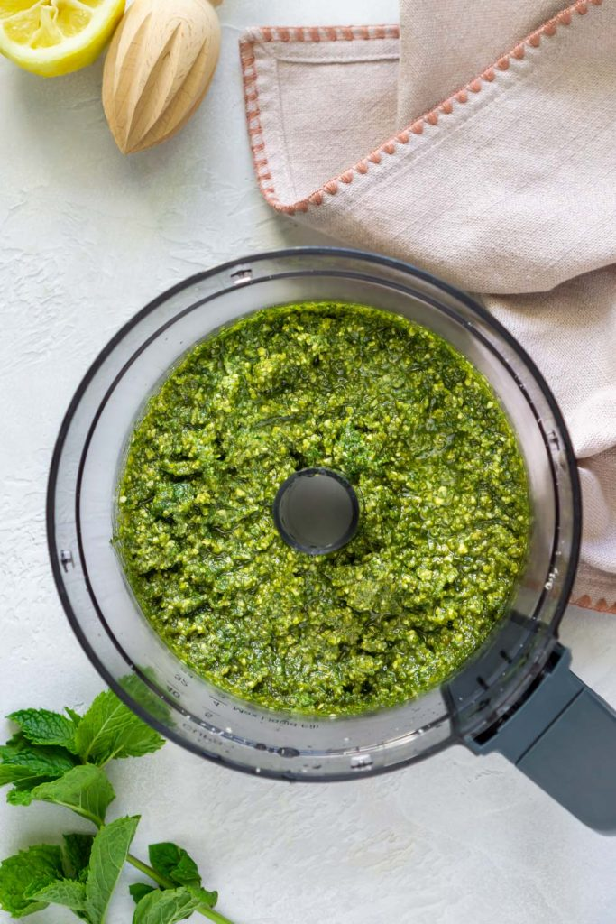 mint pesto in a food processor