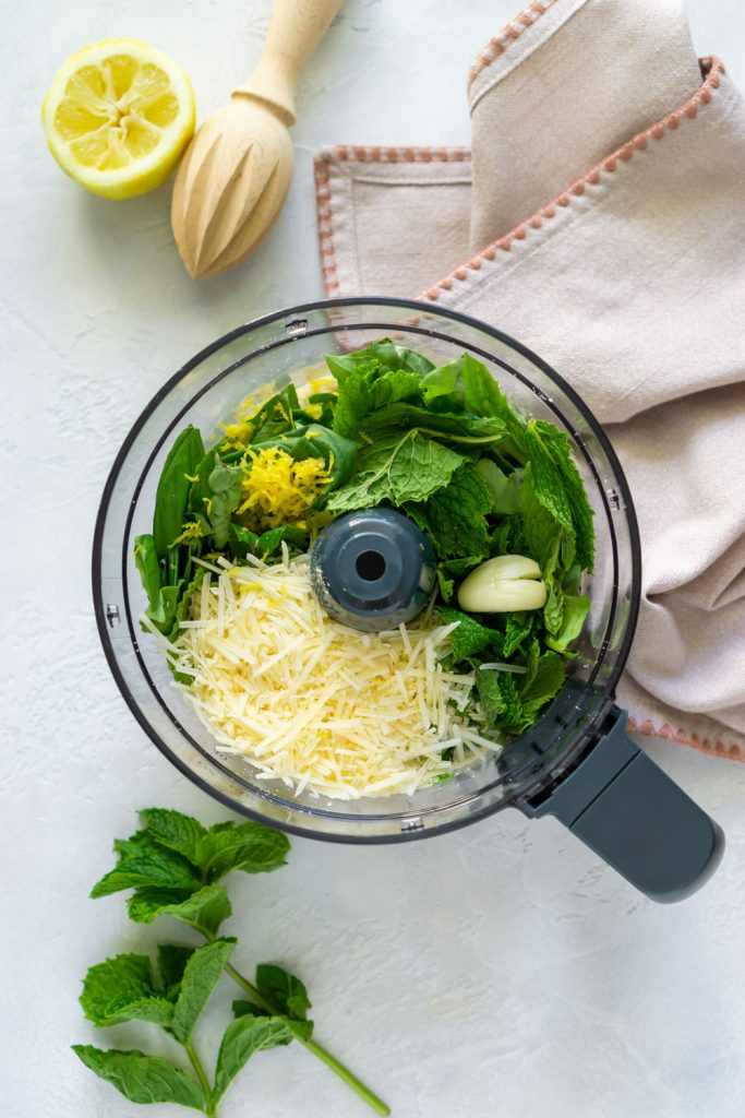 parmesan cheese, basil, mint, and lemon zest in a food processor