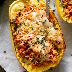 spaghetti squash lasagna boat with a fork