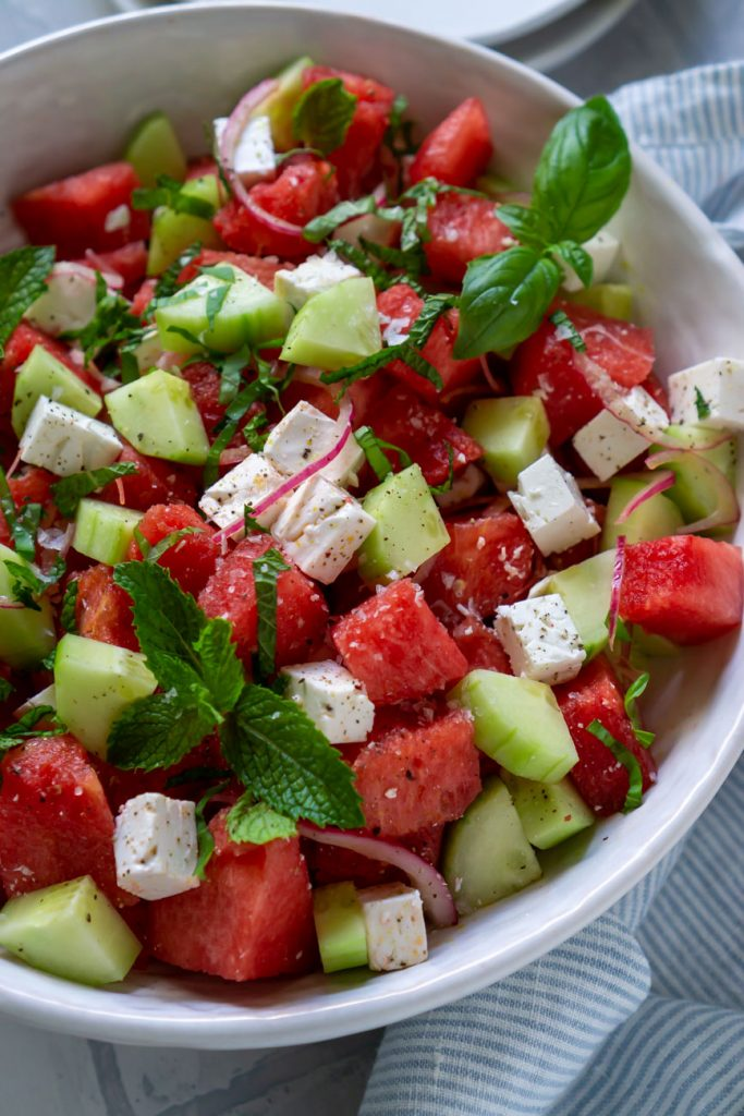 close up photo of watermelon salad