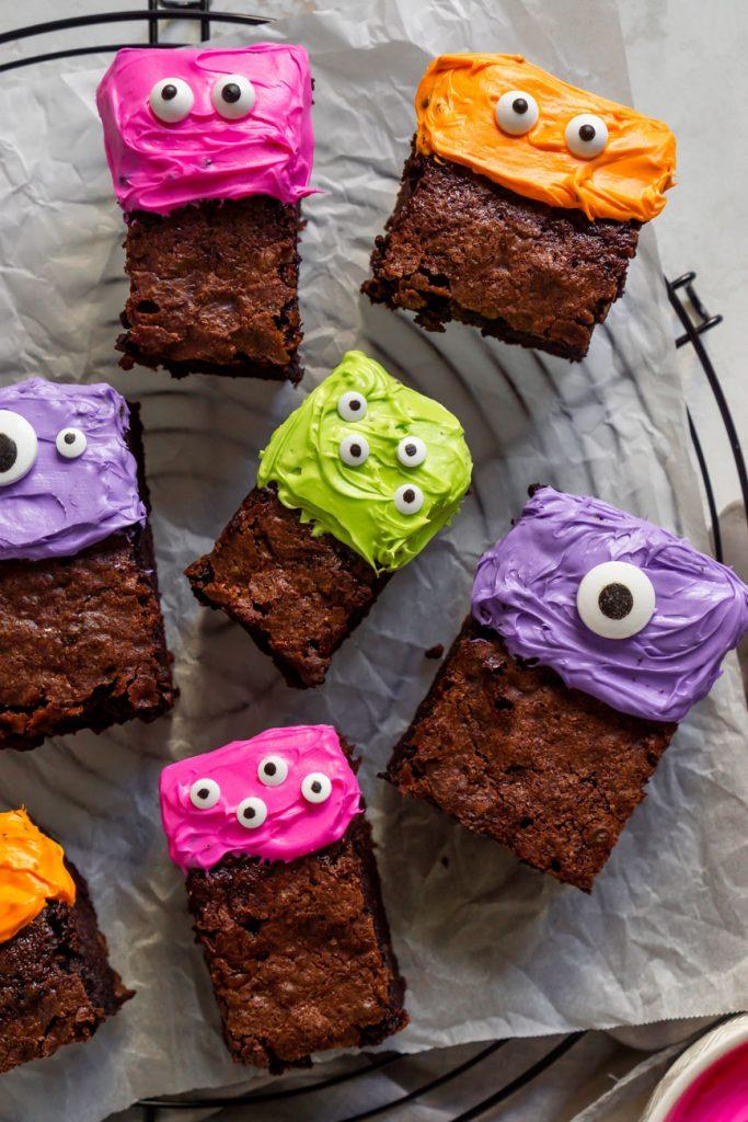 purple, pink, and orange monster brownies