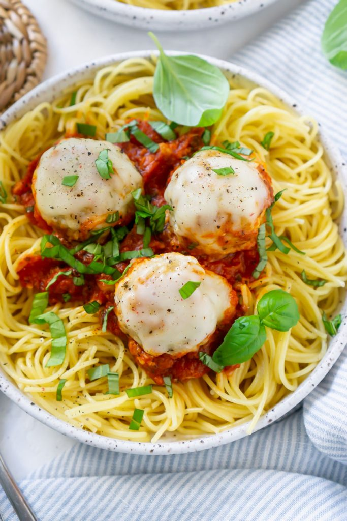 pasta on a plate with chicken meatballs